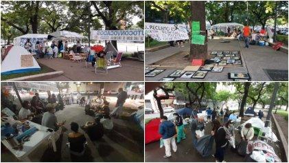 Continúa el acampe de los trabajadores de salud frente al ministerio nacional