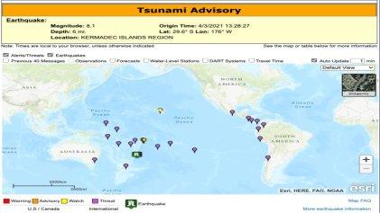 Tras tercer terremoto en Nueva Zelanda, activan alerta de tsunami para el Pacífico sur