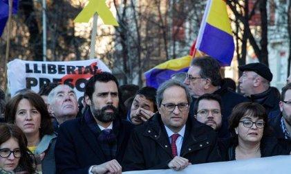 Protestas contra el inicio del juicio a los soberanistas catalanes