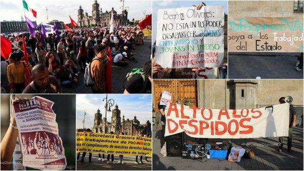 ¡Reinstalación y basificación!: clamor de estatales frente a Palacio Nacional