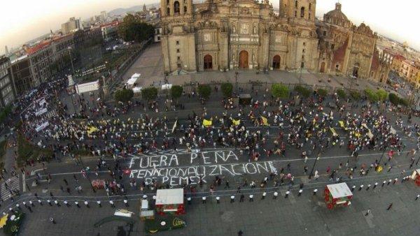 Desde el aire: miles marchan contra el gasolinazo