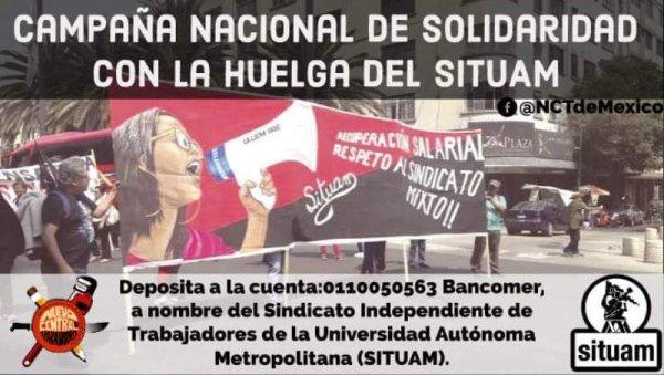 La Nueva Central de Trabajadores impulsa campaña nacional en solidaridad con el SITUAM